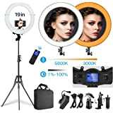 Pixel LED Ring Light with Rmote Control, 19 inch Bi-Color Dimmable Ring Light with Stand, Carrying Bag for Camera, Smartphone, YouTube, Makeup, Self-Portrait Shooting, Photography, Live Streaming