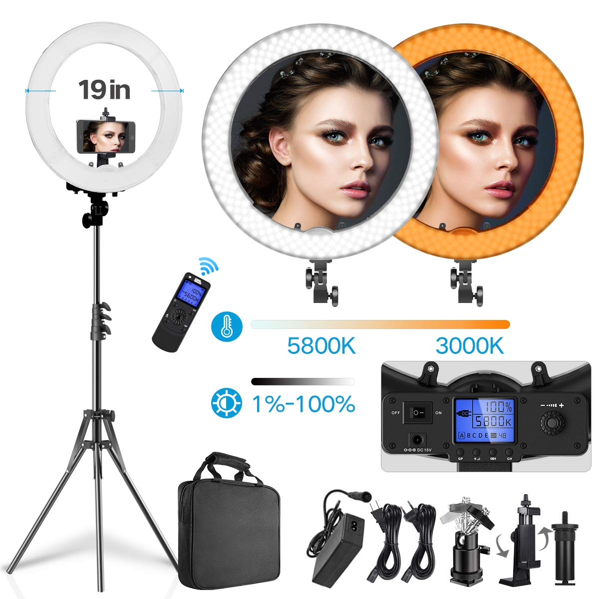 Pixel Ring Light kit - 19 inch 55W 3000-5800K Dimmable Bi-Color LED Ring Light with Stand, Carrying Bag for Camera, Smartphone, YouTube, Self-Portrait Shooting, Makeup, Photography, Live Streaming by PIXEL
