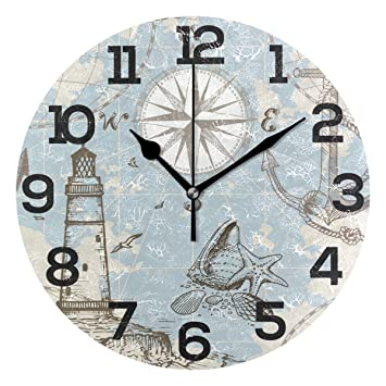 INTERIORS BY DESIGN NAUTICAL ANCHOR WALL CLOCK WITH LIGHTHOUSE FACE
