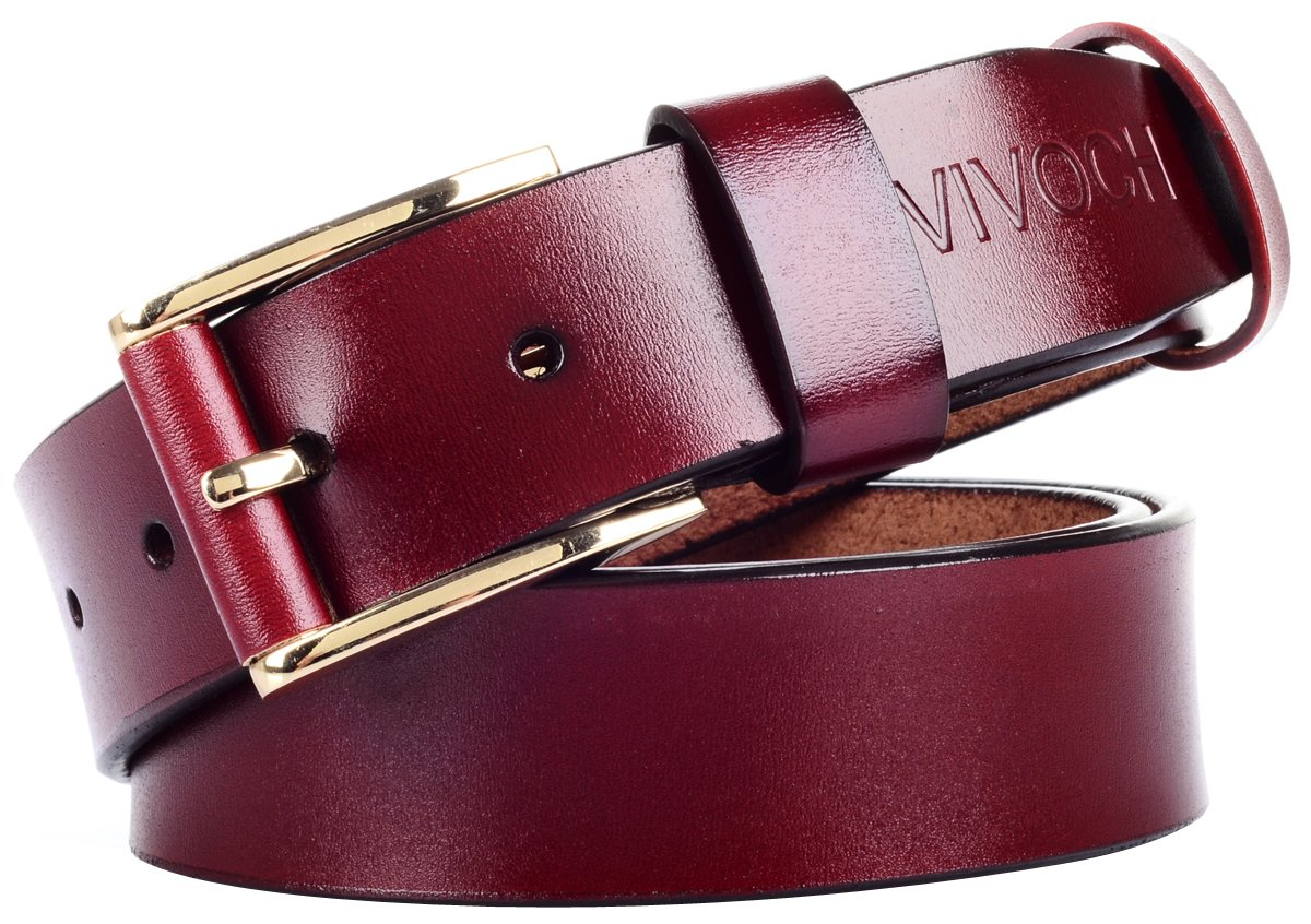 VIVOCH, Women and Girl's Genuine Cowhide Leather Belt, Vintage Casual Belts for Jeans, Skirt, Shorts Pants, Summer Dress for Women with Alloy Pin Buckle, W03120