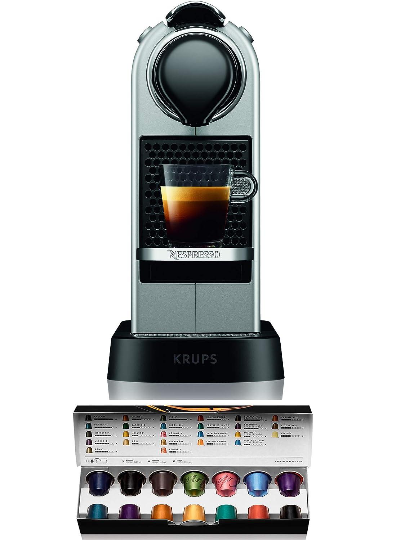Nespresso Krups Citiz XN741B - Cafetera monodosis de cápsulas Nespresso, compacta, 19 bares, apagado automático, color plata