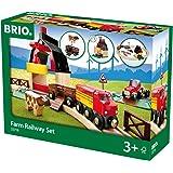 BRIO World 33719 Bahn Bauernhof Set – Holzeisenbahn mit Bauernhof, Tieren und Holzschienen – Kleinkinderspielzeug empfohlen ab 3 Jahren