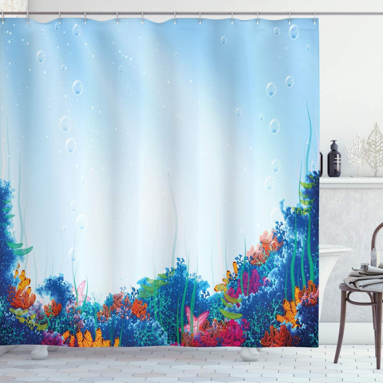 Ambesonne Underwater Shower Curtain, Marine Coral Reef Aquatic Scene Starfish Ocean Sea Exotic Nautucal Design, Cloth Fabric Bathroom Decor Set with Hooks, 70