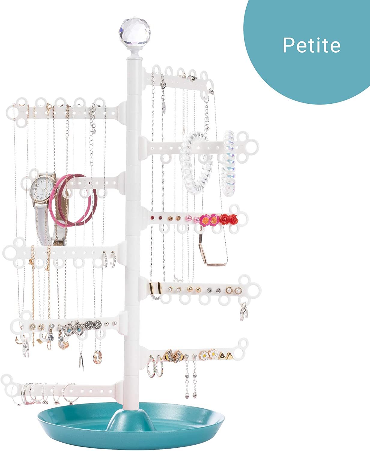 All Hung Up 10-Tier Display Everything Necklaces, Earrings 90 Pairs , Rings, Bracelets Jewelry Organizer Holder Stand Tower Tree with Dish Tray Limited Petite Edition Teal White