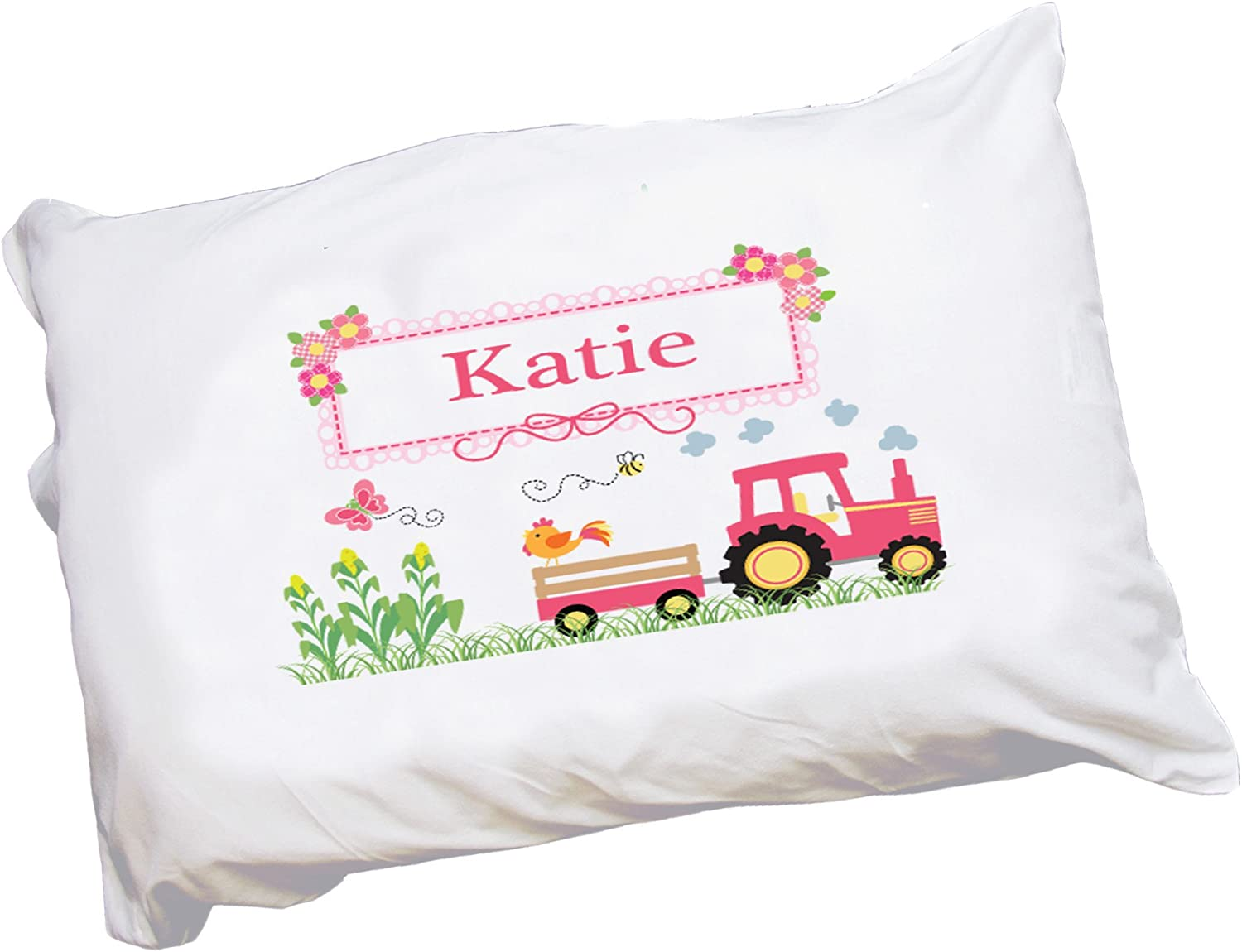 My Bambino Personalized Pillowcase with Pink Tractor Design