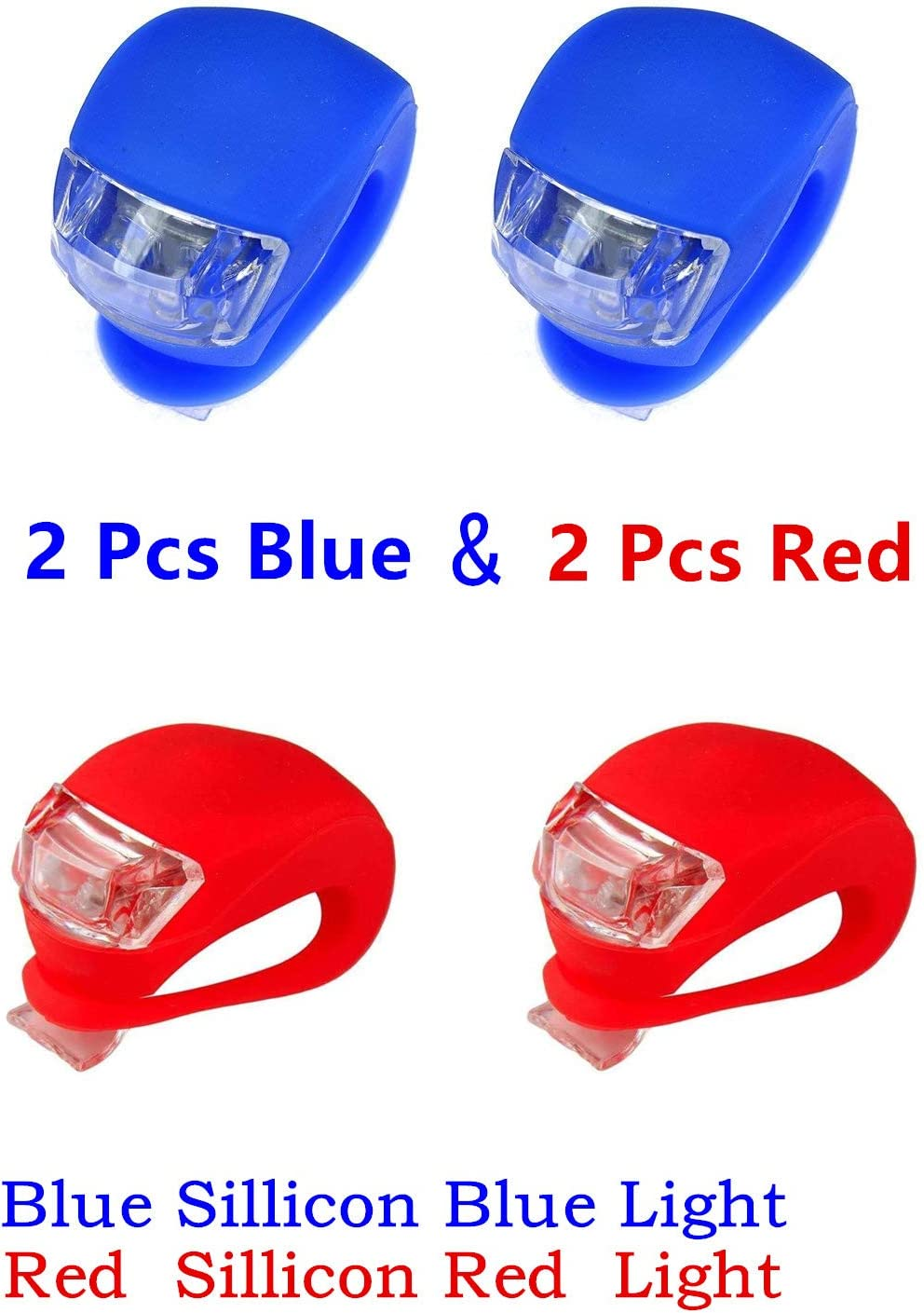 classic glow Kneos Tech Bicycle Bike Light LED Set Wrap-Around Band 2 Front 2 Rear Waterproof Silicone W 3 Modes