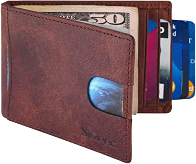 RFID Blocking Minimalist Leather Full-Grain with Money Clip Bifold Men/'s Wallet