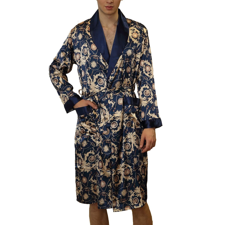 Lu s Chic Men s Satin Kimono Robe Silk Bathrobe Loungewear Spa Long Sleeve  Pockets Sleepwear at Amazon Men s Clothing store  9110ca956