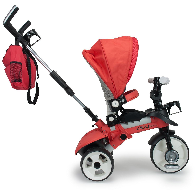 INJUSA con Control Parental de direcci/ón y Ruedas con Bandas de Goma Rojo 3271 Triciclo City MAX para beb/és Desde los 8 Meses