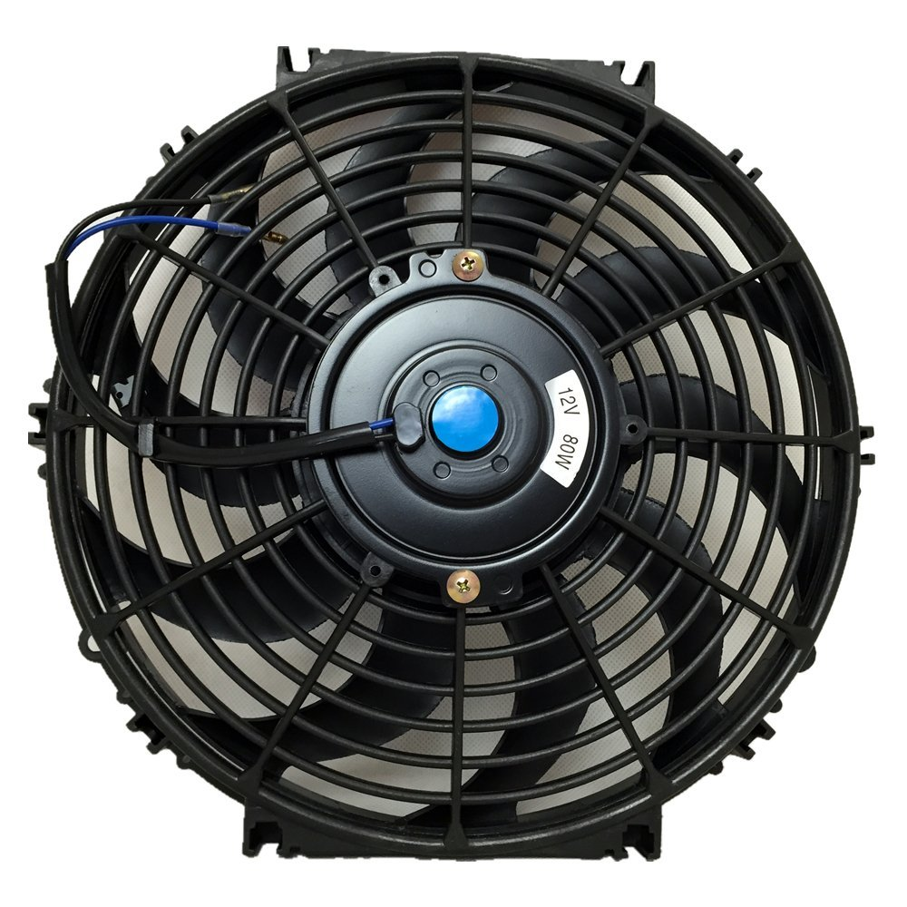 UPGR8 Universal High Performance 12V Slim Electric Cooling Radiator Fan with Fan Mounting Kit (12 Inch, Black)