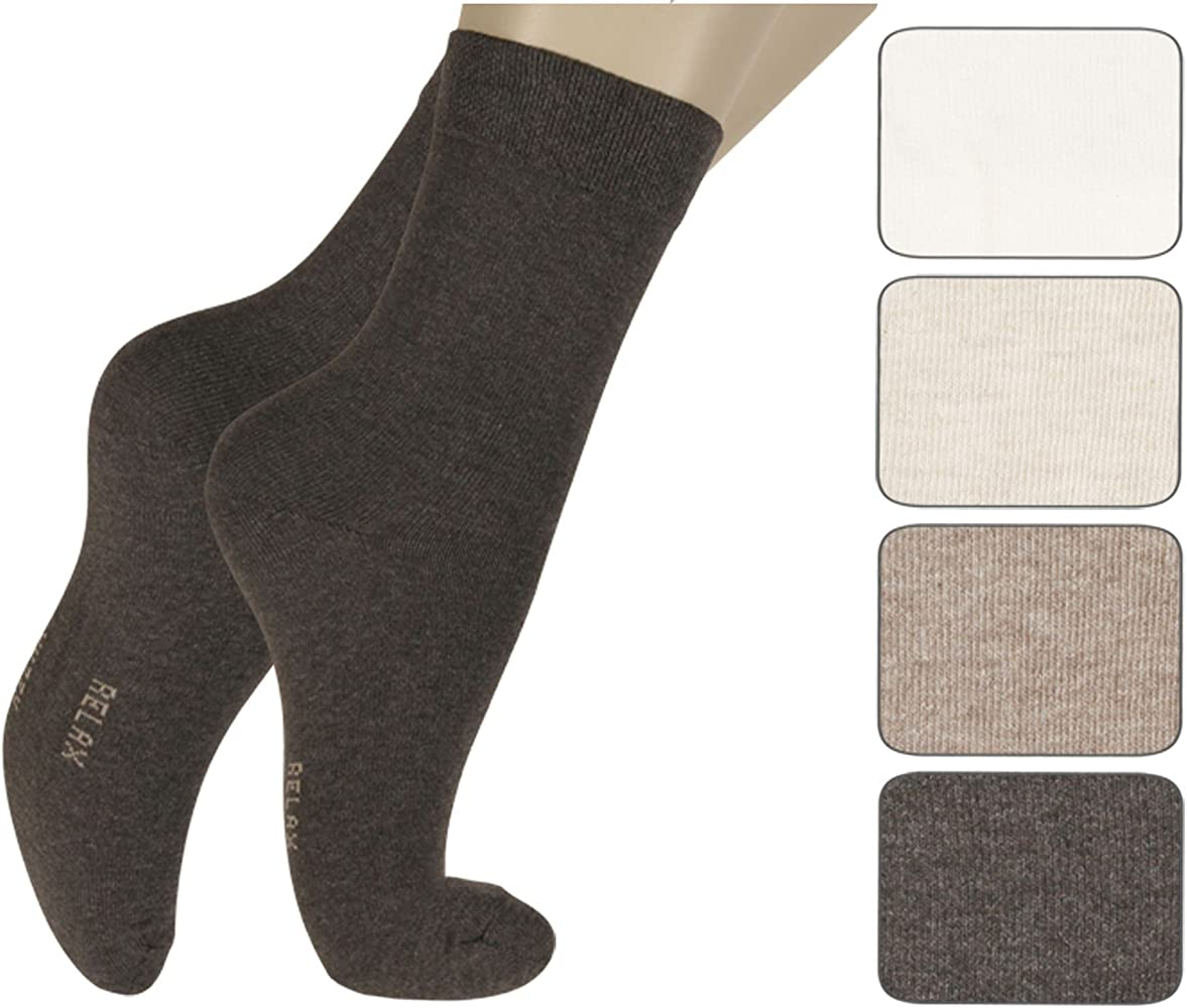 Mujer Calcetines de salud sin goma 4 Paquete - algodón, Tonos marrones, 80% algodón 80% algodón 15% poliacrílico 5% elastán 5% elastán 15% poliacrílico, mujer, 35/38: Amazon.es: Ropa y accesorios
