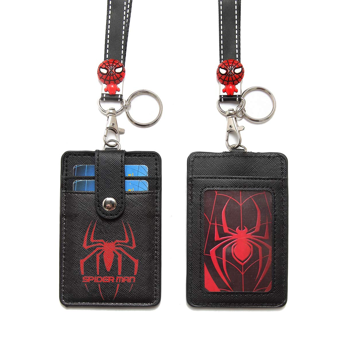 HASFINE Cute Neck Pouch Credit Card Case ID Badge Holder Lanyard with Cartoon Shield Keychain for Students Teens Girls Officer,Spiderman