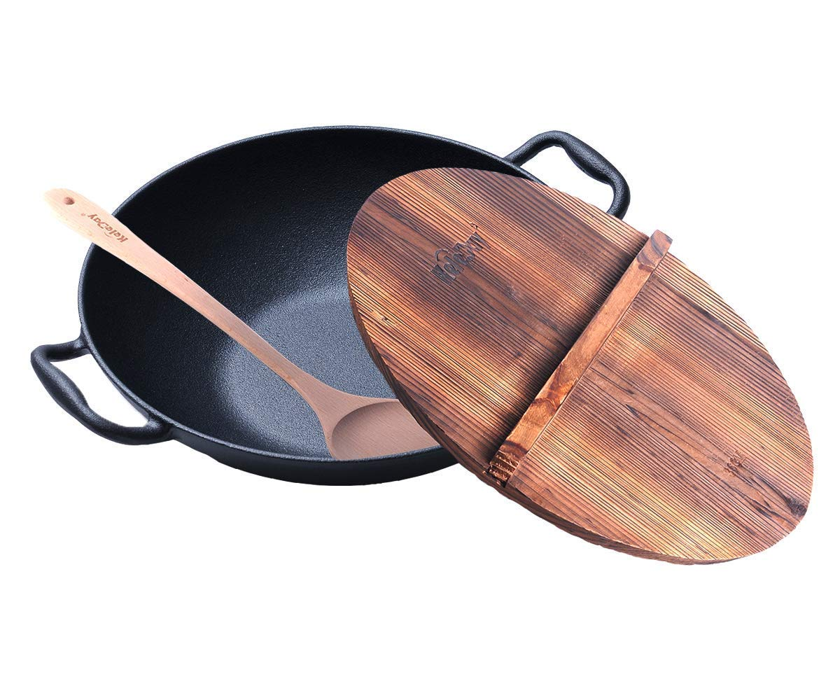 Pre-Seasoned HomeVss Cast Iron Deep Pan Deep Wok 14 inch With Wooden Lid and Wooden Turner