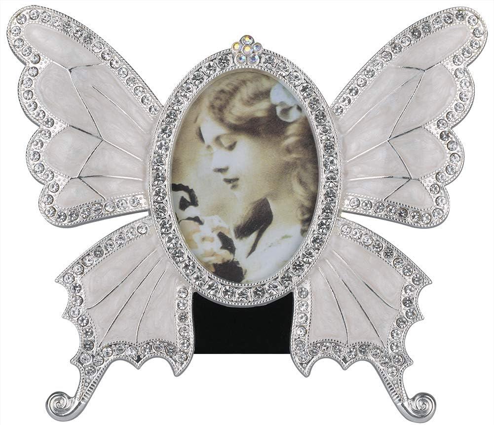 "ChezMax Rhinestone Decorated Ellipse Butterfly Design Vintage Metal Photo Frame Home Decor Desktop Picture Frame Table Top Frame White 3""-5"""