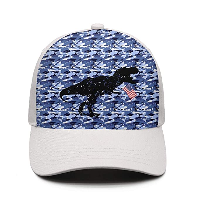 Dinosaur T-rex USA Flag Unisex Grey Strapback Hat for Mens Womens Snapback  Caps de42d143896