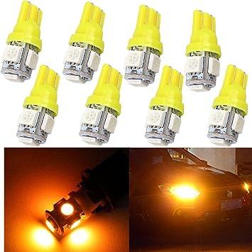 WLJH Pack de 10 bombillas LED T10 W5W de color ámbar amarillo 5-SMD 5050
