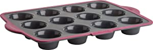 Trudeau Structure Silicone Pro Muffin Pan, 12 Cup, Grey/Pink