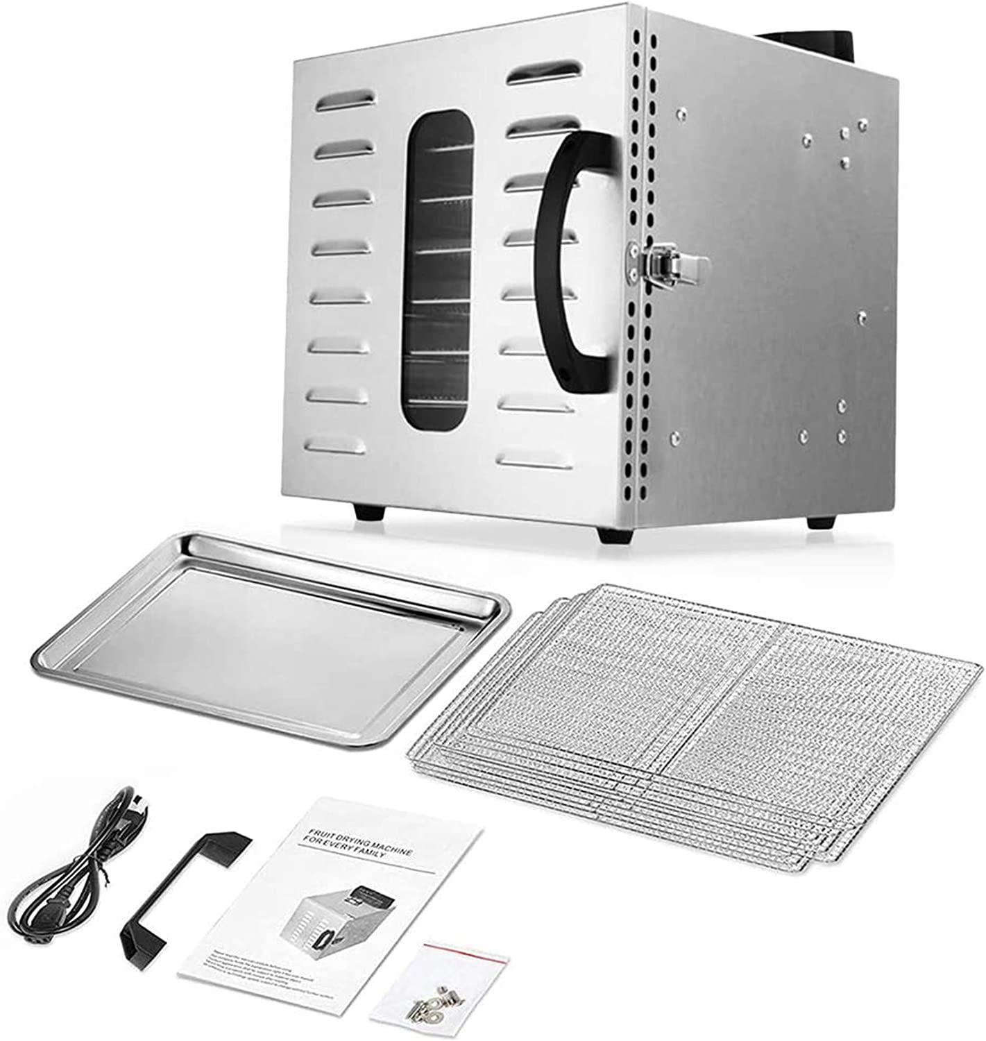 8 Tray Commercial Food Dehydrator Machine Stainless Steel 400w Digital Adjustable Timer and Temperature Control Dryer for Jerky, Herb, Meat, Beef, Fruit and To Dry Vegetables