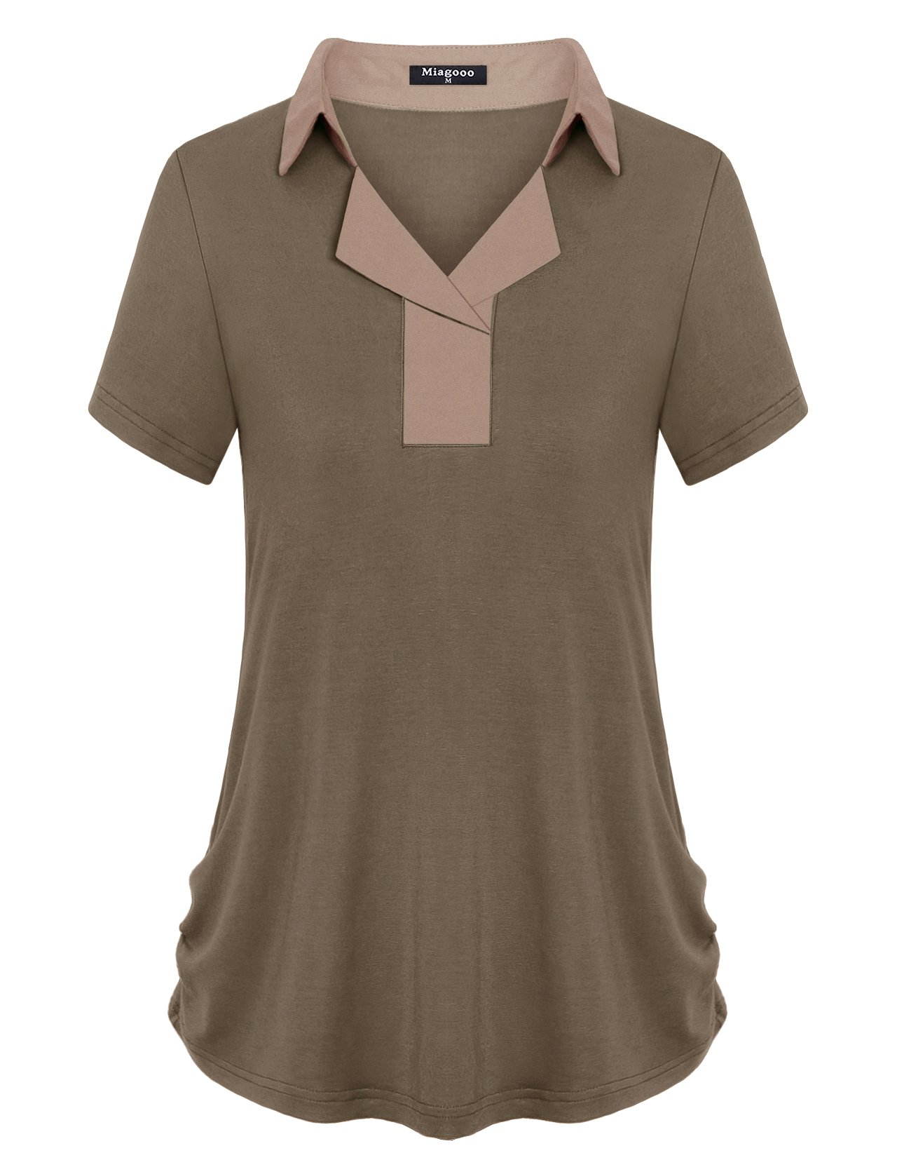 Miagooo Golf Shirts for Womens, Women's Shirts Notched Collar Button Down V Neck Short Sleeve Tunic Tops Versatile Retro Style Pleated Side Curved Hem Hipster Tshirt (Mocha,X-Large)