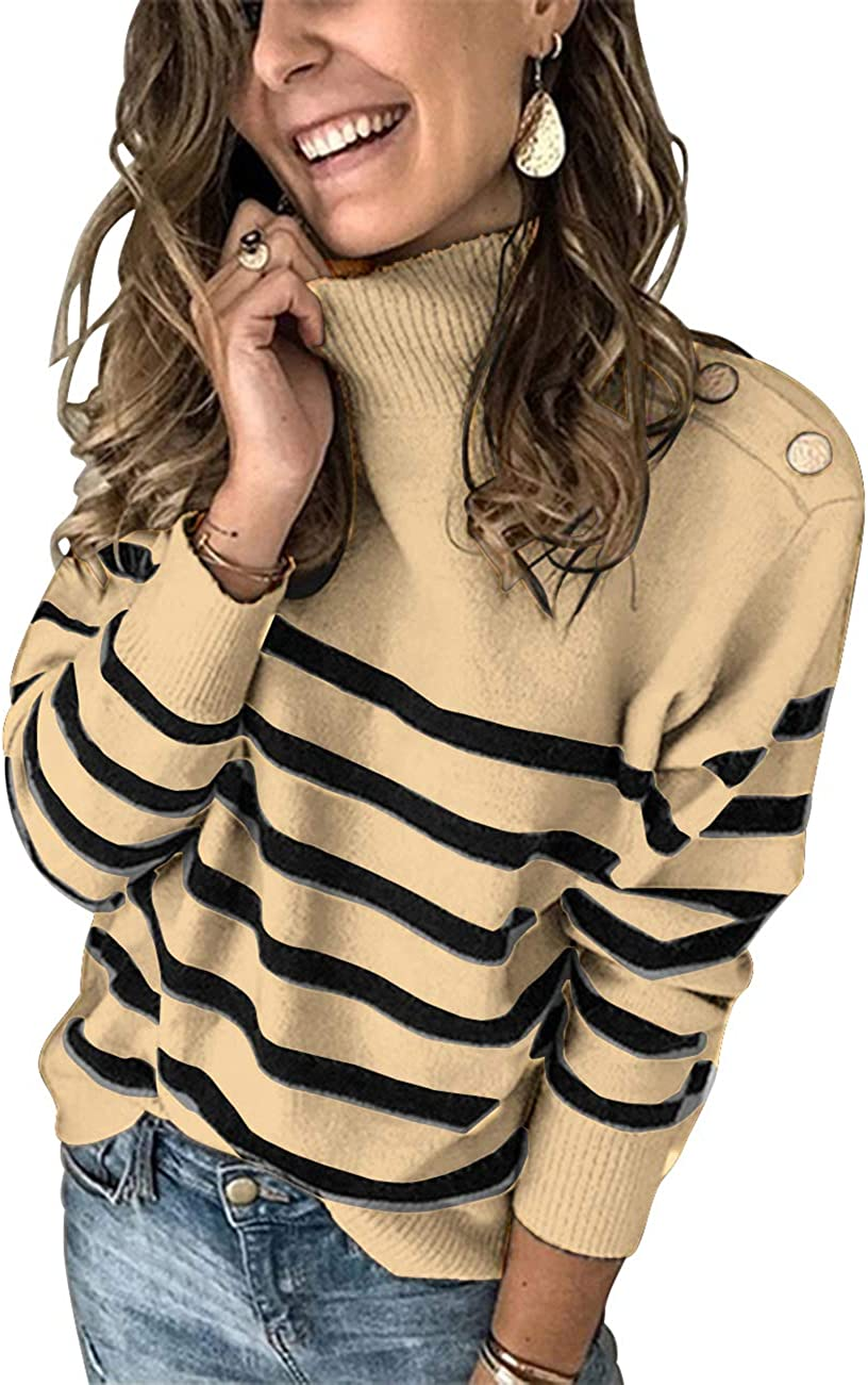 Amazon Com Kirundo 2021 Winter Women S Long Sleeves Knit Sweater Turtleneck Striped Print Loose Pullover Tops Deco With Metal Button Clothing