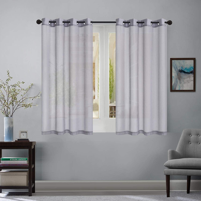 AiR 2 Piece Semi Sheer Voile Window Curtain Drapes Grommet Panels (54
