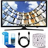 "Samsung UN50M5300 Flat 50"" 1080p LED SmartTV (2017 Model) w/ Accessories Bundle Includes, 6ft High Speed HDMI Cable - Black, SurgePro 6-Outlet Surge Adapter w/ Night Light and LED TV Screen Cleaner"