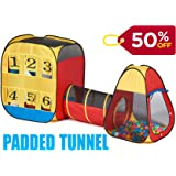 UTEX 3pc Kids Play Tent with Padded Crawl Tunnel – Children Playhouse for Boys, Girls,Babies,Toddlers for Indoor/Outdoor Use –Kids Toss Game Design