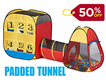 UTEX 3pc Kids Play Tent with Padded Crawl Tunnel and Ball Pit u2013 Children Playhouse for  sc 1 st  Amazon.com & Amazon.com: UTEX 3pc Kids Play Tent with Padded Crawl Tunnel and ...