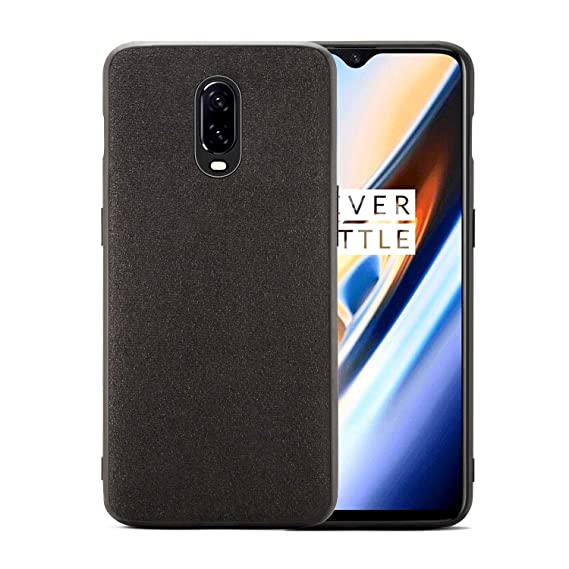 half off 5a493 cfe77 Orzero Case for Oneplus 6T Luxury Alcantara Material, TPU Soft Frame,  Washable, Full Body Heavy Duty Protection -Dark Grey