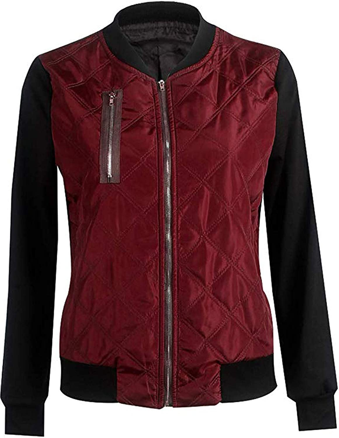 Sukimi Womens Bomber Jacket Classic Zip up Quilted Jacket Short Coat Outwear