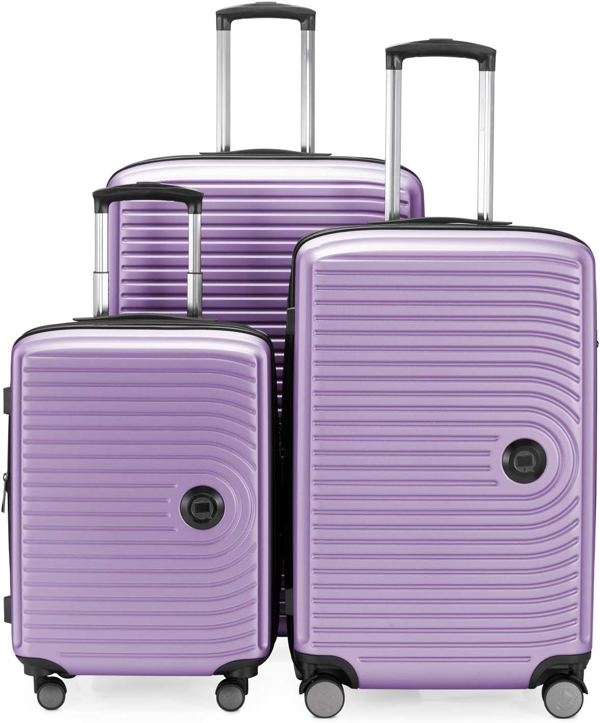 HAUPTSTADTKOFFER - Juego de 3 maletas extensibles – Trolley cabina de de 55 cm, Equipaje de tamaño mediano 68 cm + maleta grande para viaje 77 cm, cáscara dura ABS, TSA, Lila