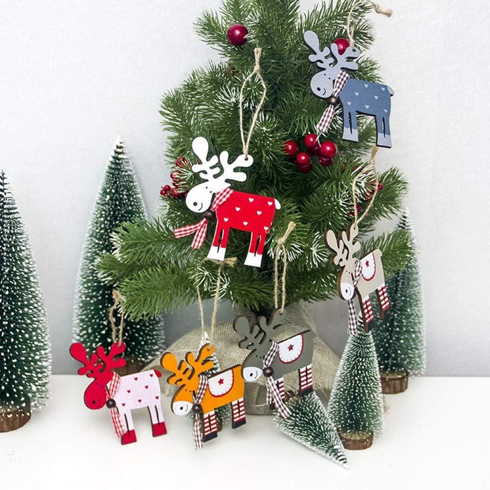 Christmas Decorations Sale,Colorful Merry Christmas 9PC Painted Wood Elk  Pendant Christmas Tree Decoration Xmas Decor Deer Ornaments Mini Christmas