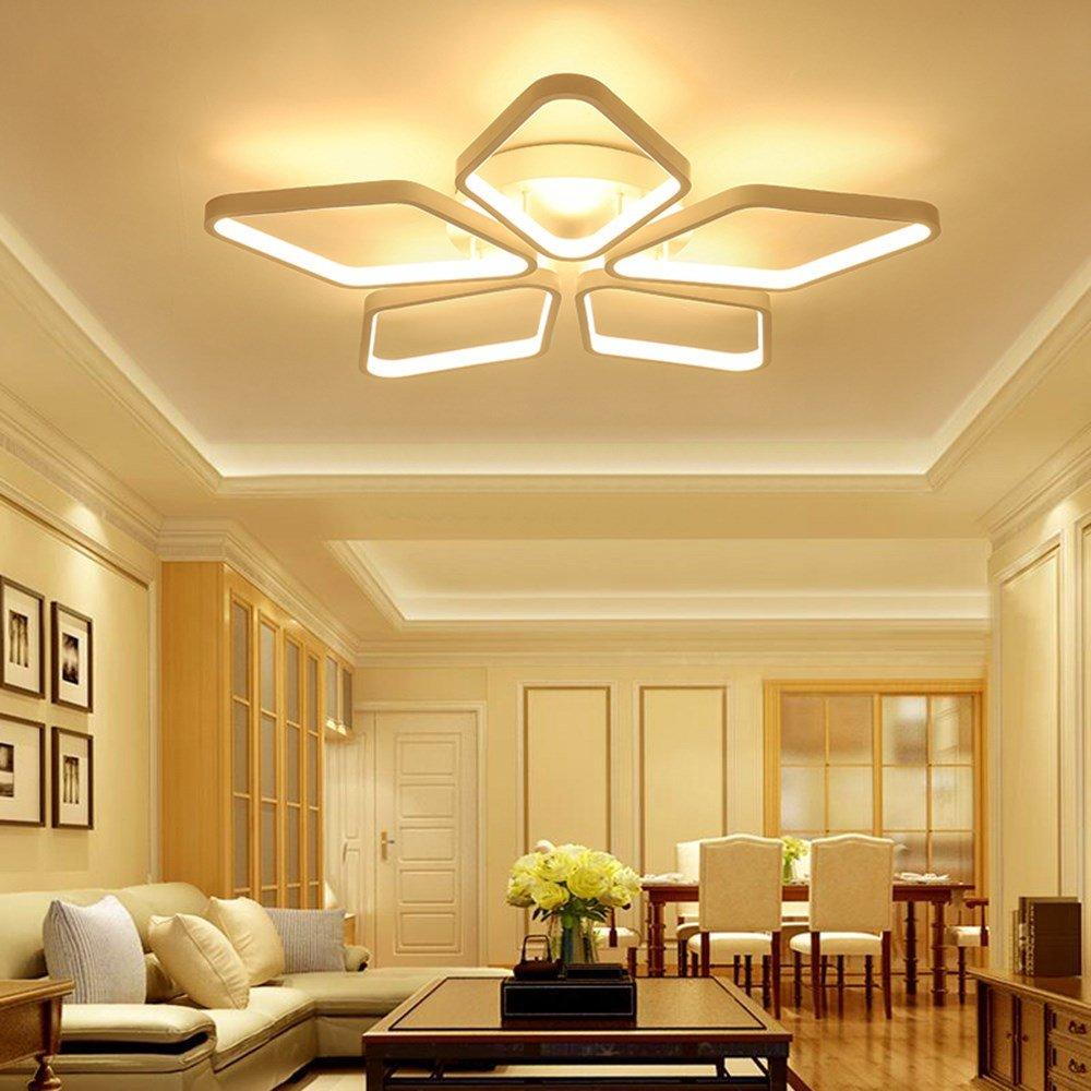 U-Enjoy Kronleuchter Moderne LED-Beleuchtung für quadratische Lampen-Befestigungs-Deckenleuchten Lamparas De Techo Schlafzimmer Plafon Wohnzimmer Innen Kostenloser Versand [Warmweiß & D51CM 30W 3Ring]