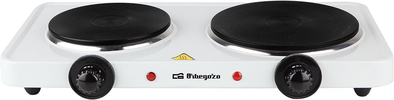 Orbegozo PE 2750- Placa eléctrica de cocina portatil, dos quemadores (15,5 cm y 18,5 cm), 2500 W y termostato de intensidad regulable: Amazon.es: Hogar
