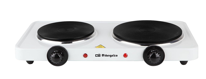 Orbegozo PE 2750- Placa eléctrica de cocina portatil, dos quemadores (15,5 cm y 18,5 cm), 2500 W y termostato de intensidad regulable