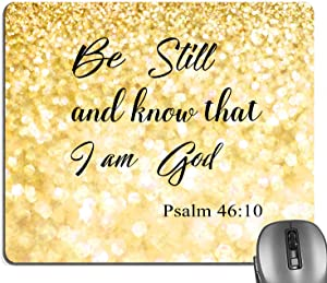 Knseva Be Still and Know That I am God Psalm 46:10 Quote Gold Glitter Mouse Pad, Christian Bible Verse Scripture Quotes Mouse Pads for Office Work Decor Inspirational Mat