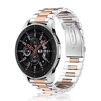 Fintie Correa para Samsung Galaxy Watch 46mm / Gear S3 Classic/Gear S3 Frontier - 22mm Pulsera de Repuesto de Acero Inoxidable, Plateado+Oro Rosa