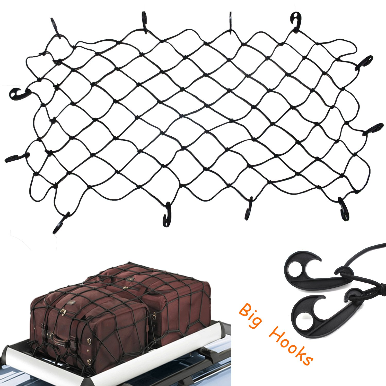 COMTOPS 47'' x 36'' Elastic Latex Bungee Cord Cargo Net with 12 Adjustable Hooks Stretches to approx 70'' x 52'' (47'' x 36'')