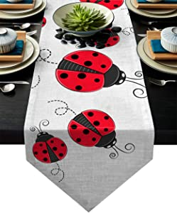 Vandarllin Red Ladybug Table Runner with Cotton Linen Blend, Nature Insect Print Table Top Covers Table Runner Decoration for Indoor Outdoor Party Holiday Wedding Dining Table-13 x 70inch