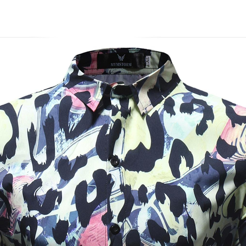 ab343d8eb36d kaifongfu Mens Shirts,Clearance Leopard Printed Blouse Long Sleeve Slim  Shirts Tops for Men (Multicolor,XL): Amazon.co.uk: Clothing
