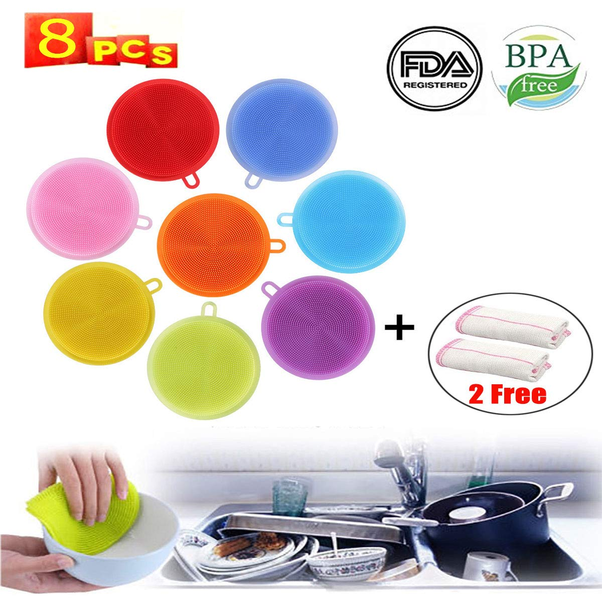 Silicone Sponge and Scrubber Antibacterial Silicone Kitchen Sponge for Dishes /& Cleaning 8 Pack+ 2 Free Non Stick Cleaning Sponge Food-Grade Better Sponge Dishwasher