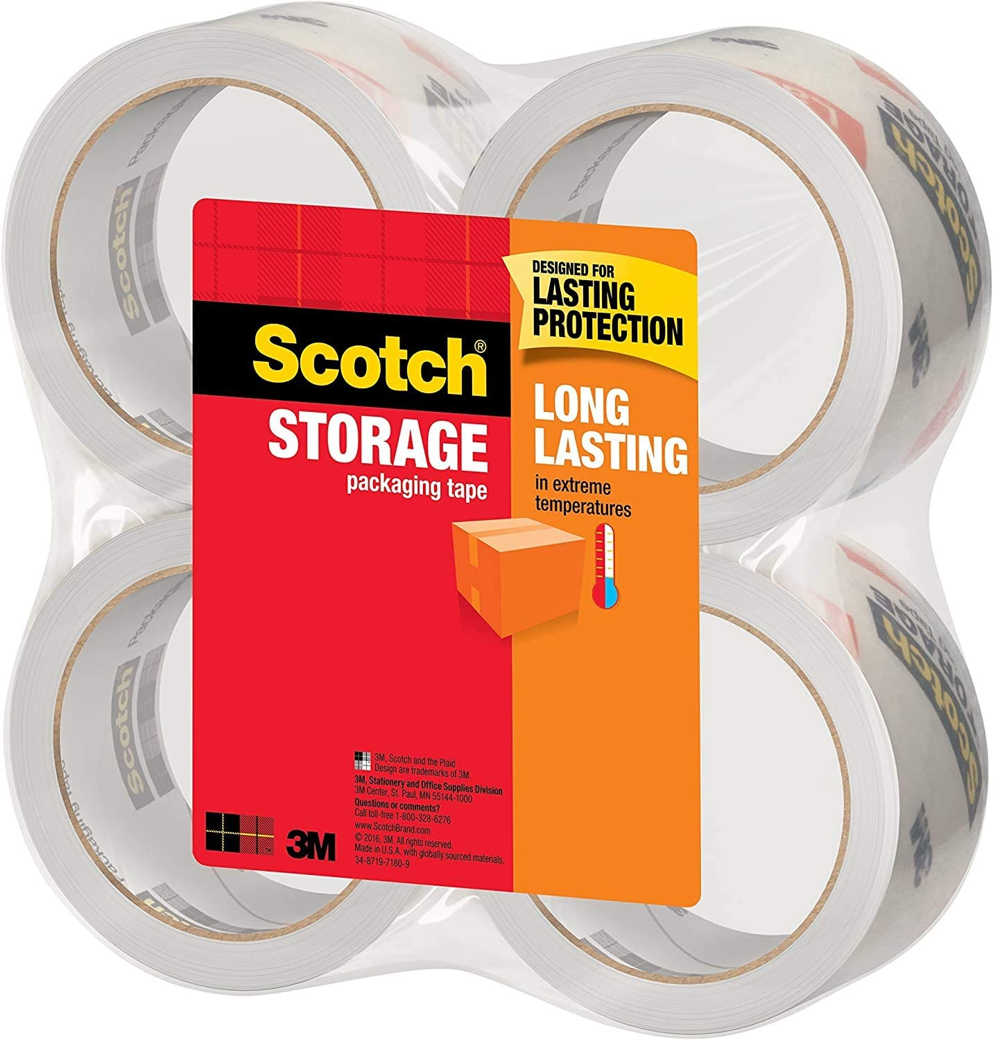 Scotch 3650-4 Long Lasting Storage Packaging Tape 4 Rolls 1.88 Inches x 54.6 Yards