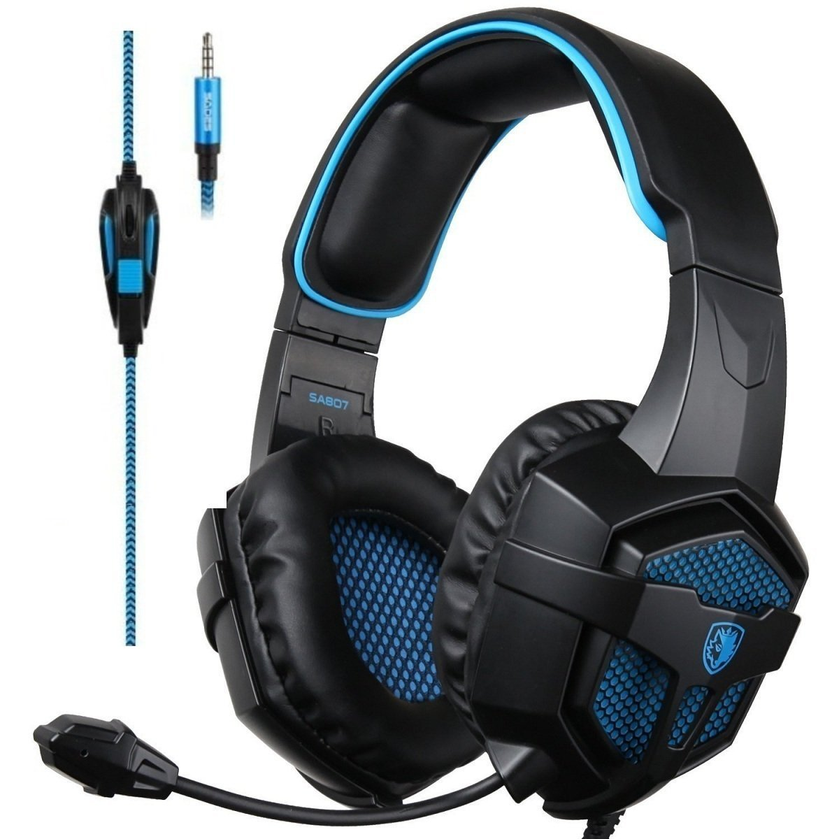 Sades sades807 Gaming Headsets Headphones For New Xbox one PS4 PC Laptop Mac Mobile, Black & Blue