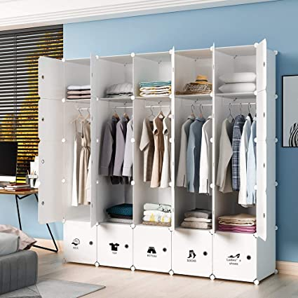 . KOUSI Portable Wardrobe Closet for Bedroom Clothes Armoire Dresser  MultiFuncation Cube Storage Organizer  White  10 Cubes 5 Hanging Sections