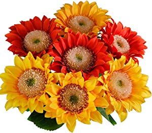 """Artificial Flowers Sunflowers 7PCS 17.7"""",Fake Flowers Silk Flowers DIY Home Decorations Wedding Party Decor (4 Yellow and 3 Orange-red)"""