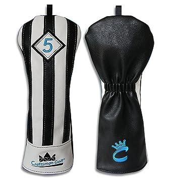 Artesano Golf negro con blanco rayas serie para cabeza de palo de golf driver madera Ut híbrida funda