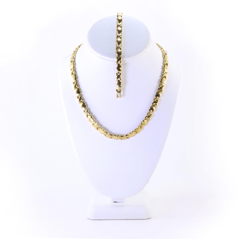 Amazon.com: Womens Gold Tone Xoxo Hugs & Kisses Necklace and ...