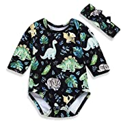 YOUNGER TREE Infant Baby Girl Dinosaur Plant Romper Long Sleeve Cartoon Print Onesies with Headband 2Pcs Outfits Clothes (Green, 6-12 Months)