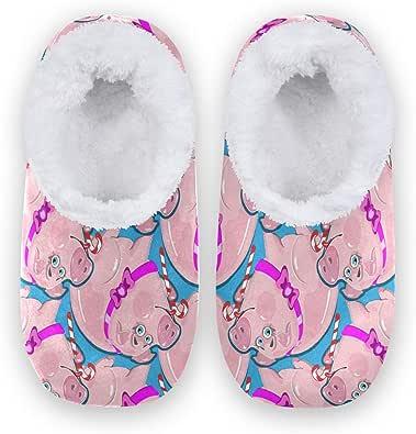 linomo Zapatillas de interior con diseño de cerdo de animales, para mujer, para casa, para el dormitorio, calcetines