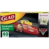 Glad Zipper Food Storage Sandwich Bags - Disney-Pixar Cars - 40 Count